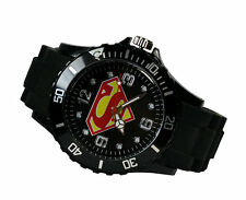 DC Universe Superman Super Hero Boy Man Metal Black Silicone Watch Wrist GCR