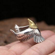 925 Sterling Silver Golden Eagle Ring for Punk Rocker Biker Men Size 9 A3255