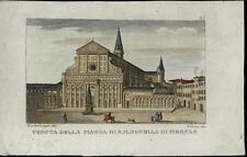 Santa Maria Novella Piazza Basilica Florence Italy scarce old c. 1822 view print