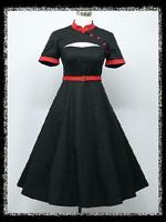 dress190 New Black & Red 50s Rockabilly Mandarin Vintage Party Cocktail Dress UK