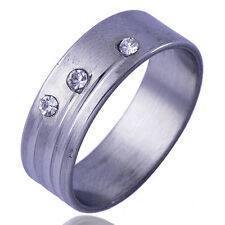 Pretty Mens Unisex promise Band Ring Clear CZ silver gold filled Size 10#
