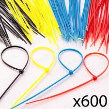 600 x COLOURED CABLE ZIP TIES Electrical Cord/Wire Tidy Red/Yellow/Blue/Black