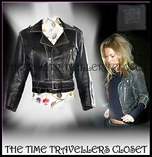 Kate Moss Rare Iconic Cropped Black Distressed Vtg Leather Biker Jacket *8 10 12
