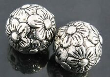 10 Large Flower Acrylic Silver  Metal Plated Beads Loose Craft Spacer 20mm