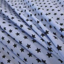 Stoff Meterware Baumwolle Jersey Sterne stars hellblau marine Loop Kleiderstoff