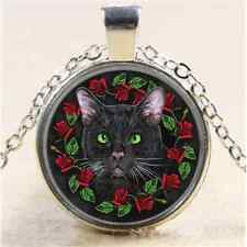 Witch Flower Black Cat Cabochon Glass Tibet Silver Chain Pendant  Necklace#1144