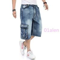2016 Mens Cargo Pocket Denim Jeans Short Pant Summer Loose Fit Hip Hop Plus Size