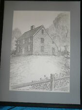 Artist Signed  Drawing ROBERT CONRAD LEDOUX Print  1993 Farmhouse