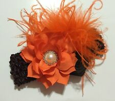 Handmade Fall /Thanksgiving Orange And Brown Flowers Baby Girls / Girls Headband