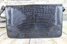 Vintage 1960s Genuine Black Crocodile/Alligator Skin 3 Compartment Shoulder Bag