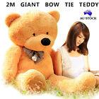 HUGE 2M GIANT CARAMEL TEDDY BEAR BOW TIE CUDDLY SOFT PLUSH TOY DOLL STUFFED