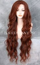 "EXTRA long 32"" Lace Front Wig HEAT SAFE Auburn Red Mix Wavy JSTA 33-130"