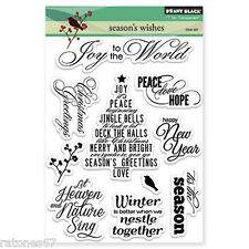New Penny Black SEASON'S WISHES Clear Stamps Christmas Verse Tree Joy New Year