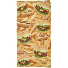 Hamburger And Hot Dog All Over Plush Beach Towel