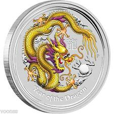 Perth Mint Australia 2012 Dragon Yellow Colored 1 oz .999 Silver Coin