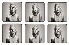 "MARILYN MONROE COASTERS 1/4"" BAR & BEER SET OF 6"