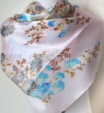 Gorgeous Pink Print Flower's 100% Silk Twill Square Scarf 35""