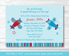 Little Aviator Airplane Blue Red Printable Baby Shower Invitation Editable PDF