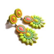 handmade jewelry geometric neon yellow pink statement color block stud earrings