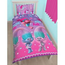 OFFICIAL Dreamworks Trolls Glow Girls Single Bed Duvet Quilt Doona Cover Set