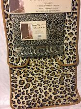 4pc Bath Rug Set Animal Beige Leopard Print Bathroom Shower Curtain Mat/rings @$