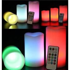 3pz TELECOMANDO LED CAMBIA COLORE FLAMELESS STATO D'ANIMO WAX CANDELE CON TIMER