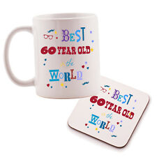 Best 60 Year Old in the World Mug and Coaster set. Birthday gift idea