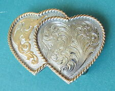 Vintage MONTANA SILVERSMITHS USA Gold Sterling Silver Double Heart Belt Buckle