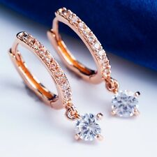 POPULAR SIMPLE DESIGN ROSE GOLD PLATED CLEAR Cubic Zircon DROP Earrings