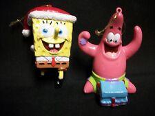 2003 Patrick and 2004 Sponge Bob Square Pants Christmas Holiday Ornaments