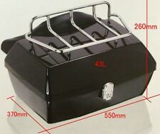 Black DMY Motorcycle Trunk Tail box with Top Rack & Backrest HONDA YAMAHA SUZUKI