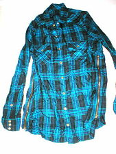 New Womens Designer True Religion S Plaid Top Logo Black Aqua Blue NWT Tunic Zip