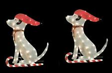 "TWO 36"" GLISTENING TINSEL FABRIC DOGS LIGHTED OUTDOOR CHRISTMAS DECORATION"