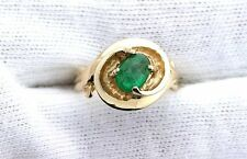 14Kt REAL Yellow Gold Oval Columbian Emerald Cabochon Cab Gemshone Ladies Ring