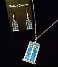 Tardis Necklace + Earrings *SET* Dr Who Police Box Phone Charm Dr Who Necklace