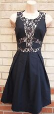 PRIMARK BLACK NUDE FLORAL PRINT INSERTED SLIM SKATER FLAPPER PROM TEA DRESS 6 XS