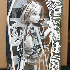 New | Monster High Frankie Stein Skull Shores Black & and White | Mattel X0593