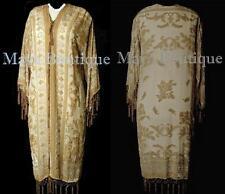 Beige Silk Burnout Velvet Beaded Fringes Jacket Kimono Long Coat Maya Matazaro