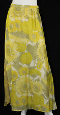 SALVATORE FERRAGAMO Yellow & Green Sunflower Print Silk Maxi Skirt 40