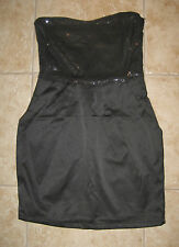Belle D Strapless Black Sequin and Satin Mini Cocktail Dress Size S Small NEW