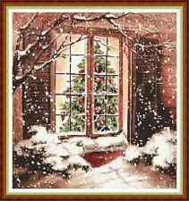 "'COSY CHRISTMAS WINDOW' Cross Stitch Chart (11¾""x12½"") Xmas/Cottage FREE UK P&P"