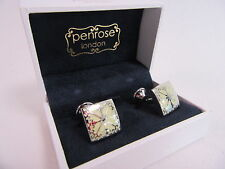 Penrose of London Designer Pallas B Floral Square Cufflinks Ivory RRP £140 #CL75