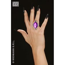 Gothic Rectangular Ring with Purple Gem Jewellery for Halloween Emo Goth Fancy D