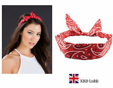 PAISLEY RED WIRED HEADBAND Rockabilly Hand Wrist Neck Scarf Wire Hair Band UK
