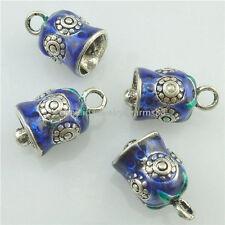 16246 2PCS Copper Enamel Cloisonne 21.5mm Bell Loop Bails Dangle Pendant