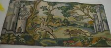 LOVELY VINTAGE NEEDLEPOINT PIECE WITH HUNTING SCENE WITH CASTLES  SS408 - PHOTO