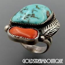 VINTAGE NAVAJO SIGNED STERLING SILVER TURQUOISE CORAL FEATHER RING SIZE 5.75