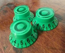 3 Guitar top hat volume/tone knobs. Neon Green.... JAT CUSTOM GUITAR PARTS