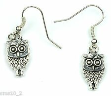Hand Made Silver Colour Owl Earrings HCE350