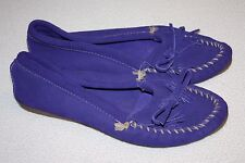 Minnetonka Purple Suede Fringe Loafers, Slippers Moccasins Women Size 10, EUC